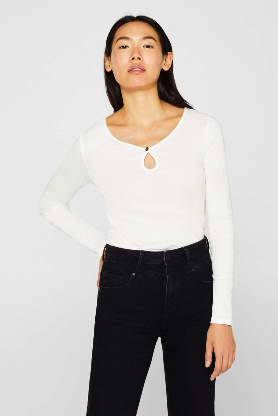 edc - Keyhole cut-out long sleeve top made of 100% cotton