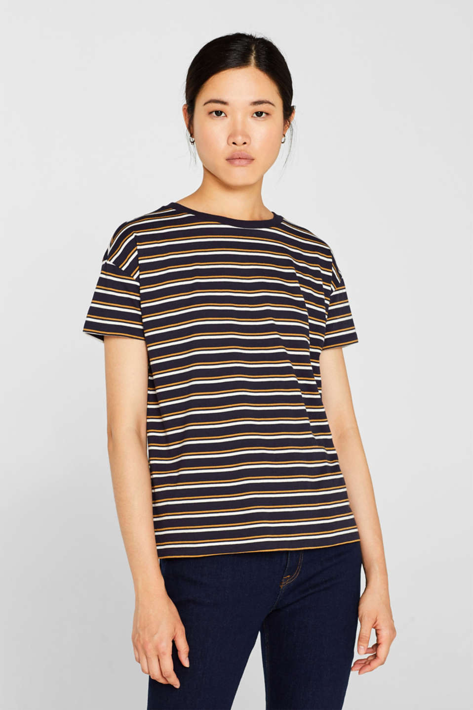 Striped T-shirt, 100% cotton, NAVY, detail image number 0