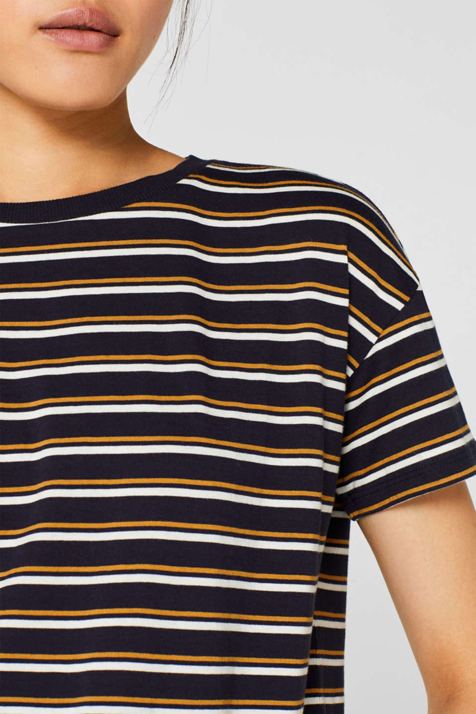 Striped T-shirt, 100% cotton, NAVY, detail image number 2