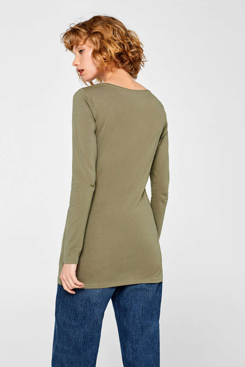 Long sleeve stretch cotton top, KHAKI GREEN, detail image number 3