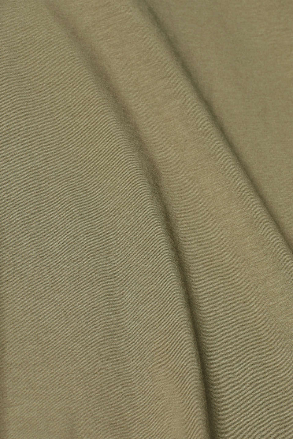 Long sleeve stretch cotton top, KHAKI GREEN, detail image number 4