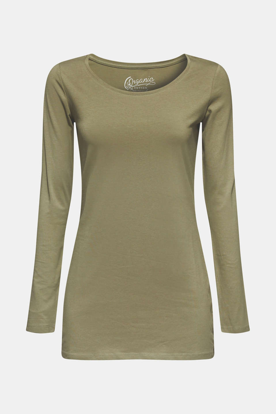 Long sleeve stretch cotton top, KHAKI GREEN, detail image number 5