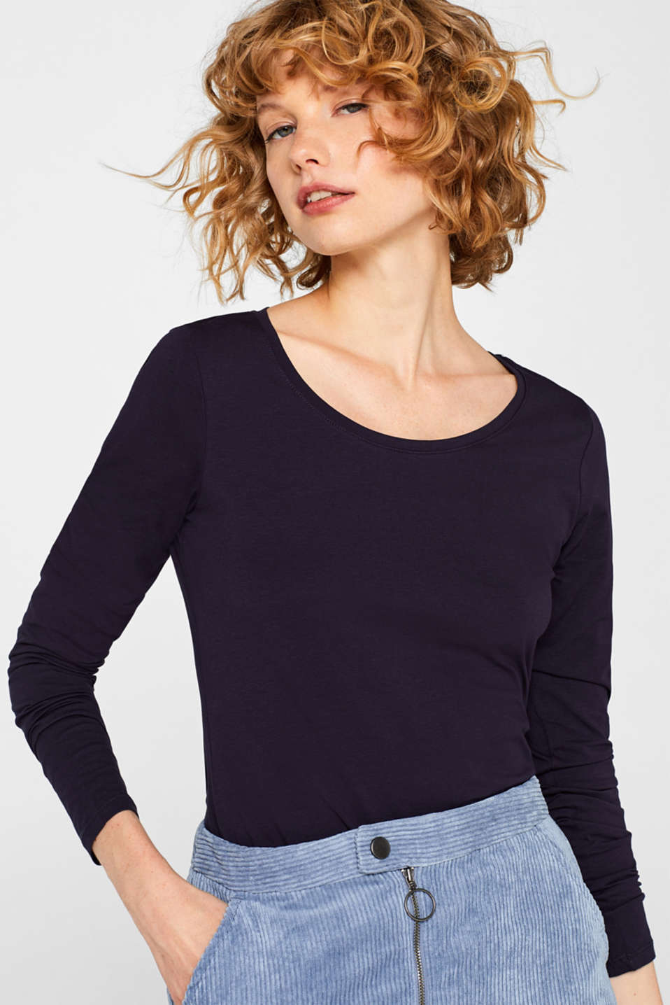 Long sleeve stretch cotton top, NAVY, detail image number 0