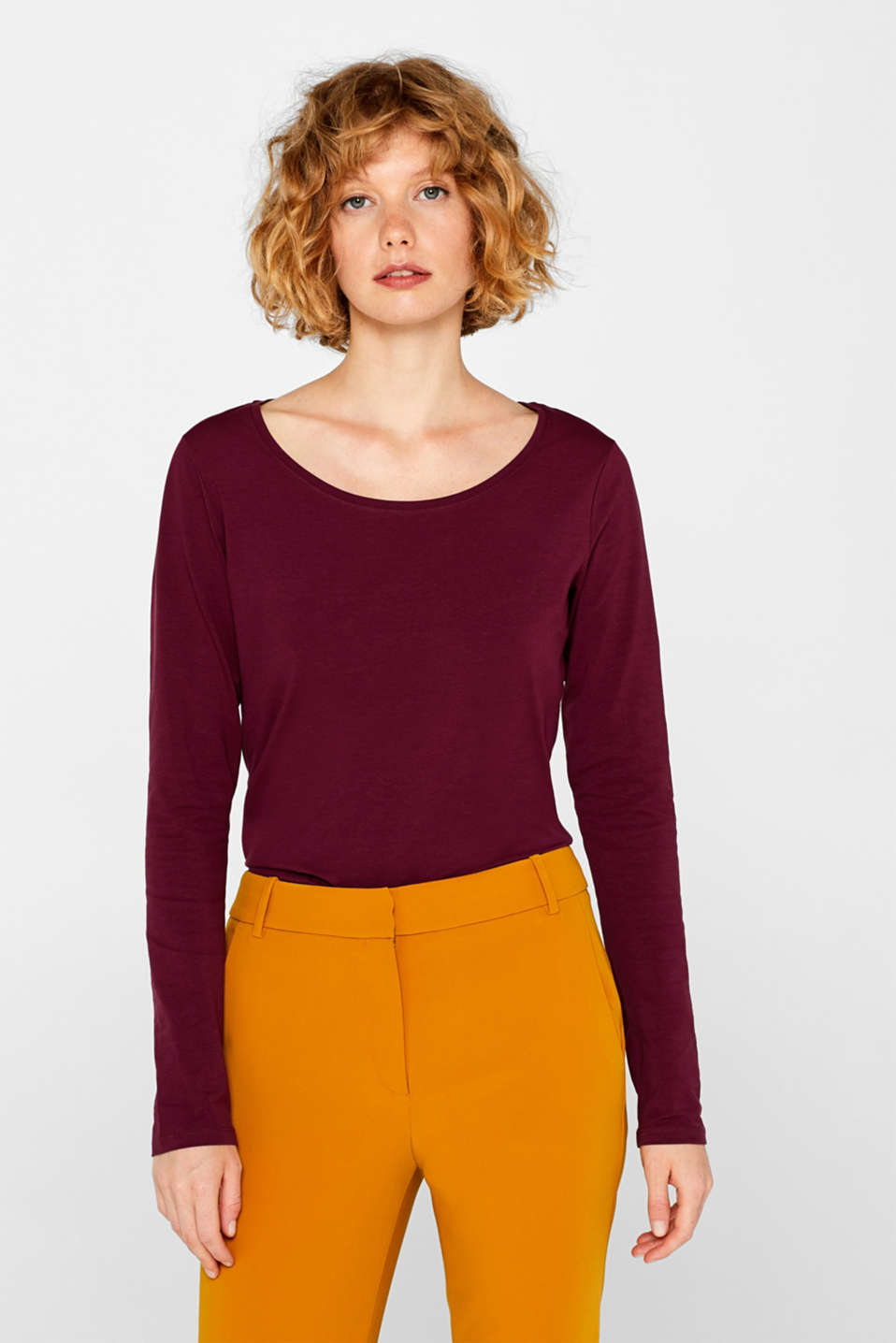 Long sleeve stretch cotton top, BORDEAUX RED 4, detail image number 0
