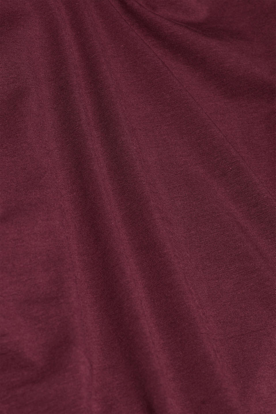 Long sleeve stretch cotton top, BORDEAUX RED 4, detail image number 4
