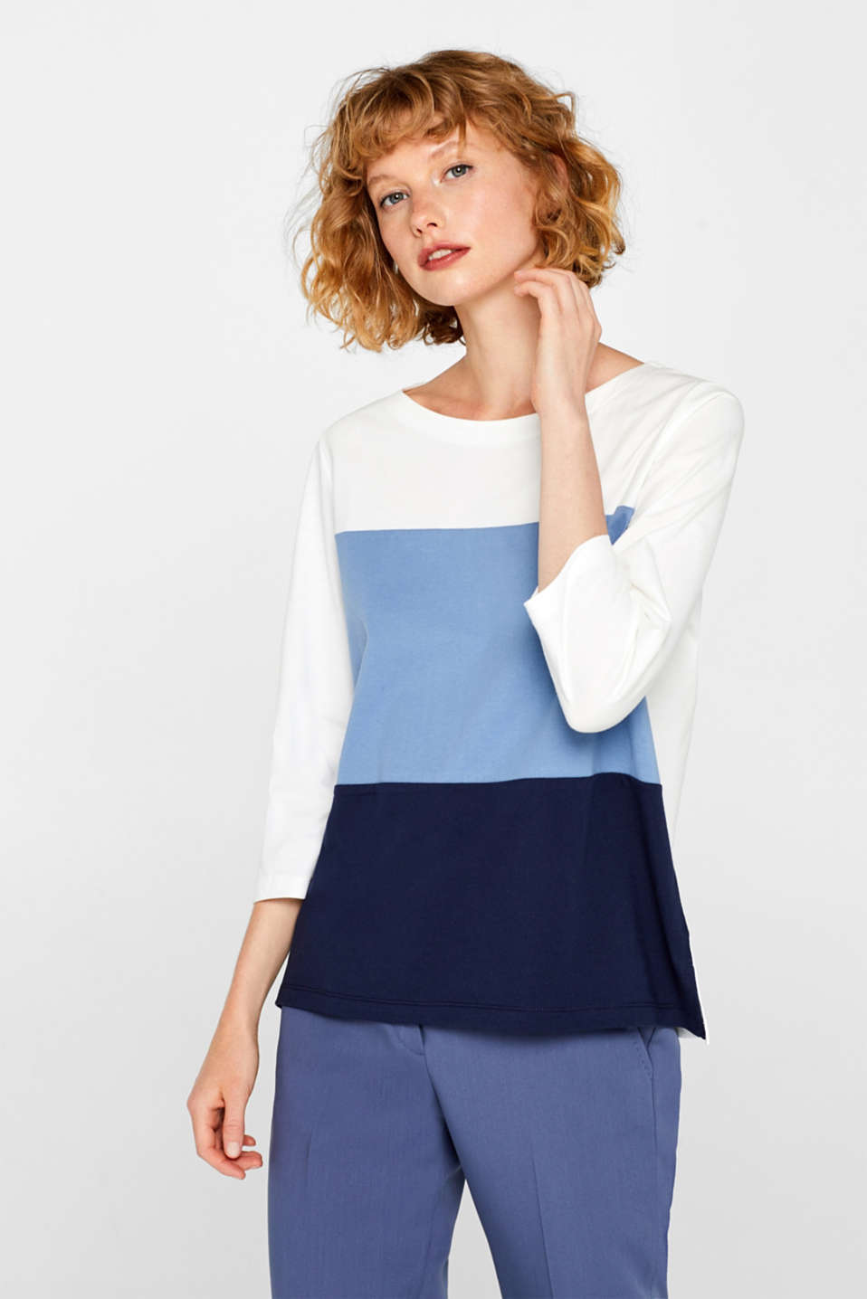 Top with block stripes, 100% cotton, BLUE LAVENDER, detail image number 0