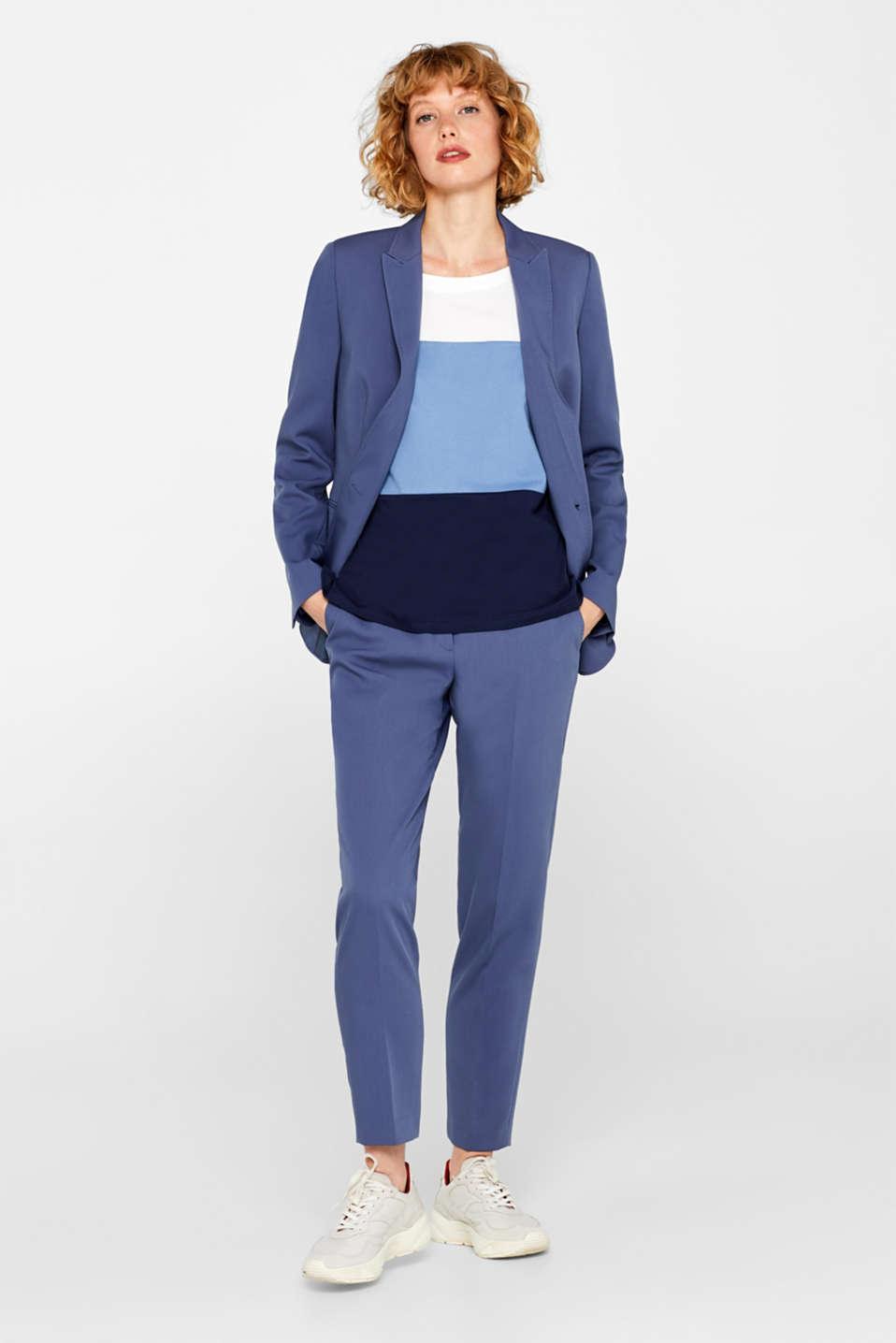Top with block stripes, 100% cotton, BLUE LAVENDER, detail image number 1