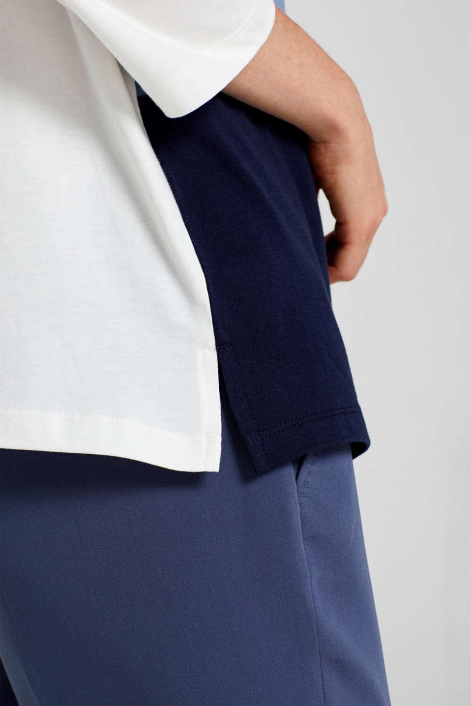 Top with block stripes, 100% cotton, BLUE LAVENDER, detail image number 2