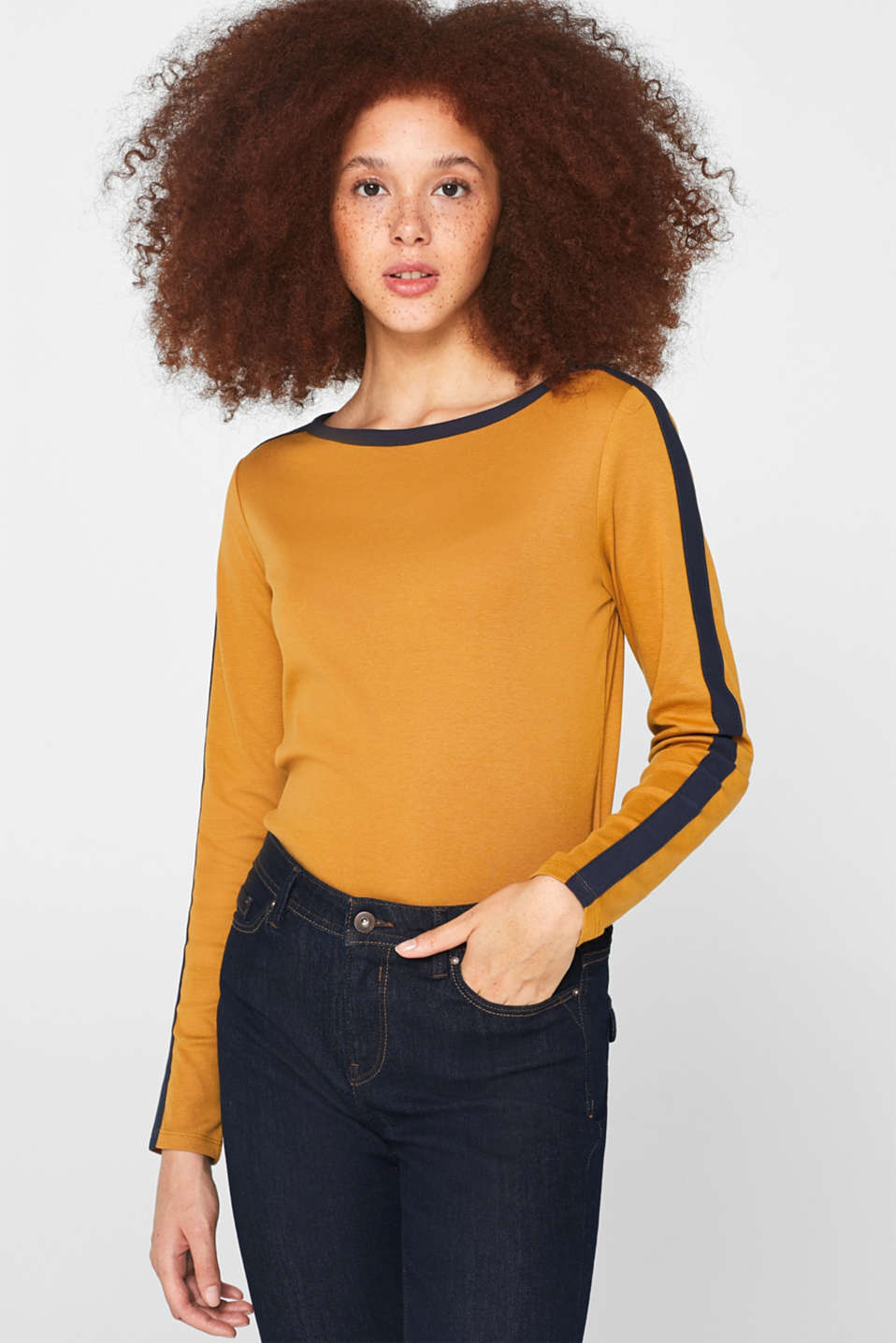 edc - Long sleeve top with contrasting details, cotton
