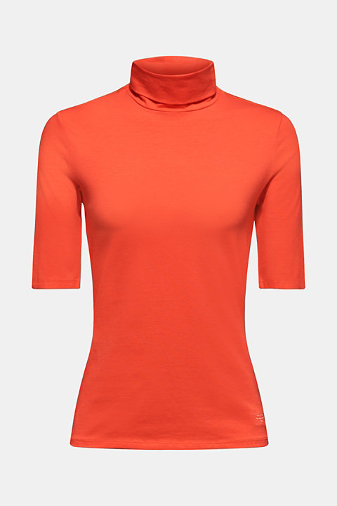 NEON stretch top with a polo neck