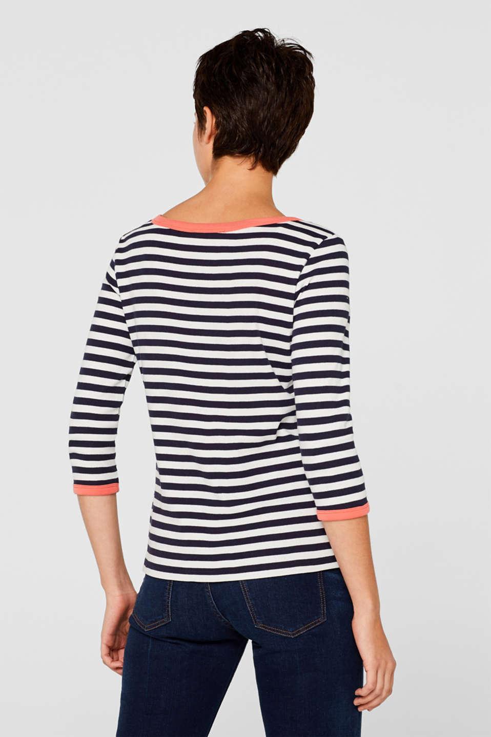 Accent trim T-shirt, 100% cotton, NAVY, detail image number 3