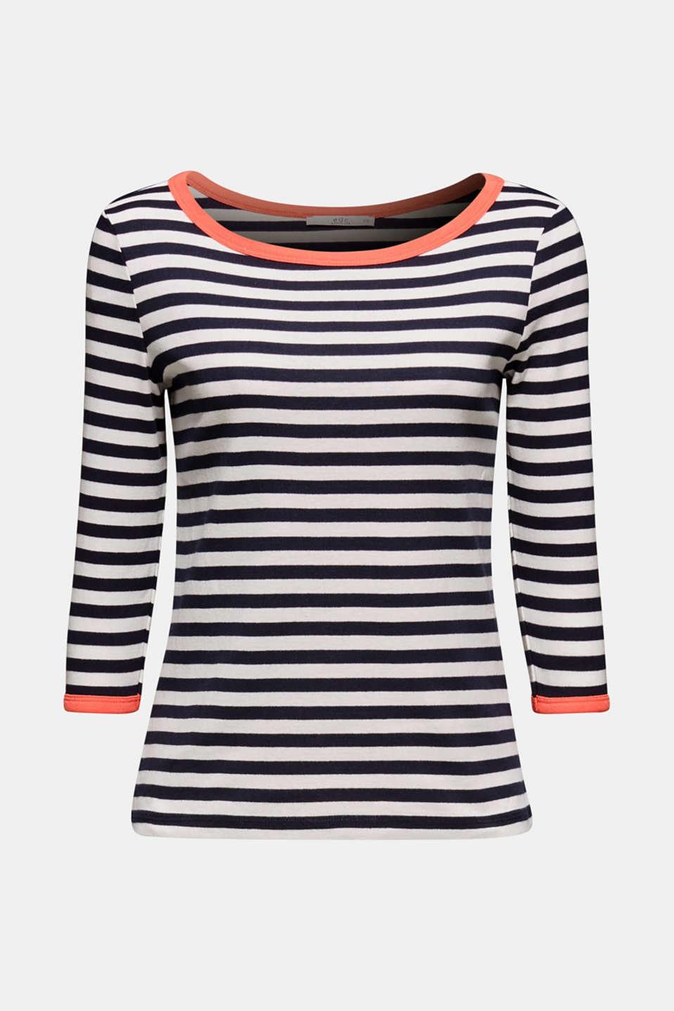 Accent trim T-shirt, 100% cotton, NAVY, detail image number 5
