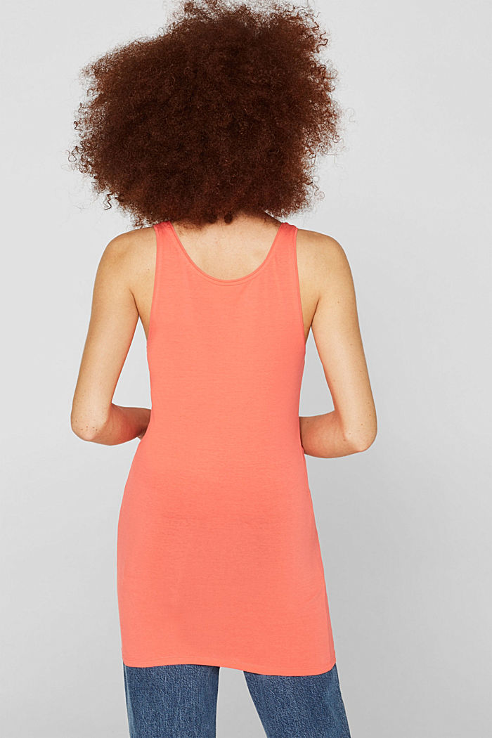 Basic long top with stretch for comfort, CORAL, detail image number 3