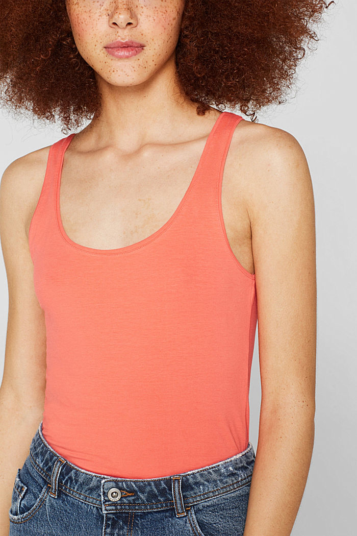 Basic long top with stretch for comfort, CORAL, detail image number 2