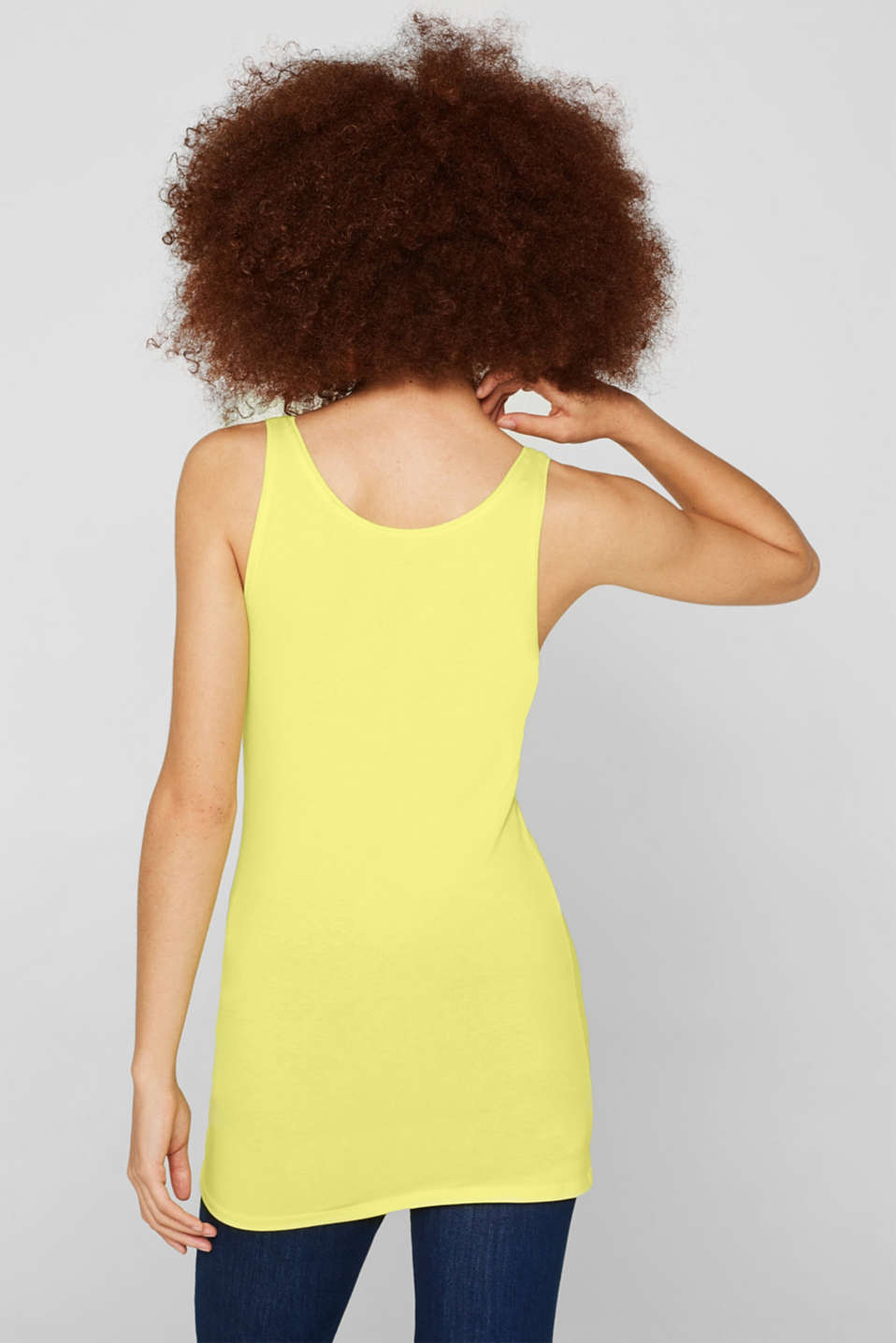 Basic long top with stretch for comfort, BRIGHT YELLOW, detail image number 3