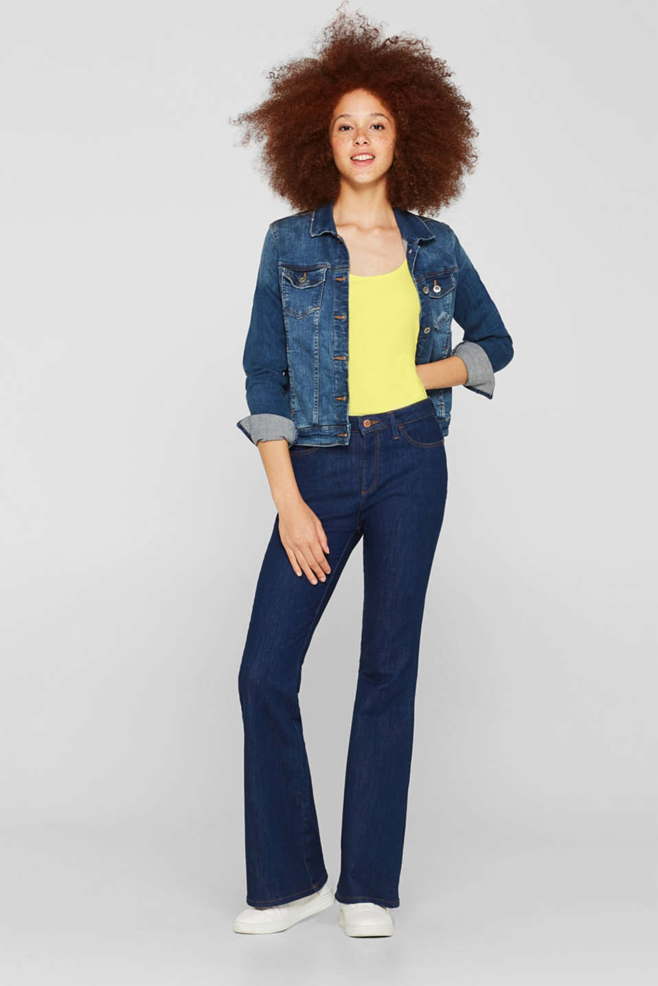 Basic long top with stretch for comfort, BRIGHT YELLOW, detail image number 1
