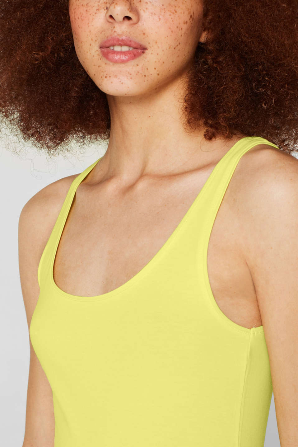 Basic long top with stretch for comfort, BRIGHT YELLOW, detail image number 2