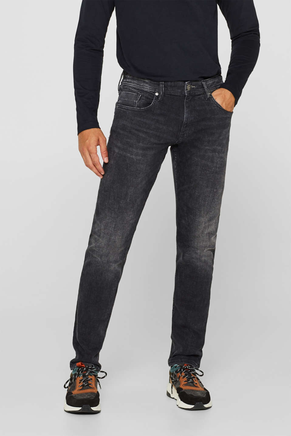 edc - Stretchjeans met garment-washed look