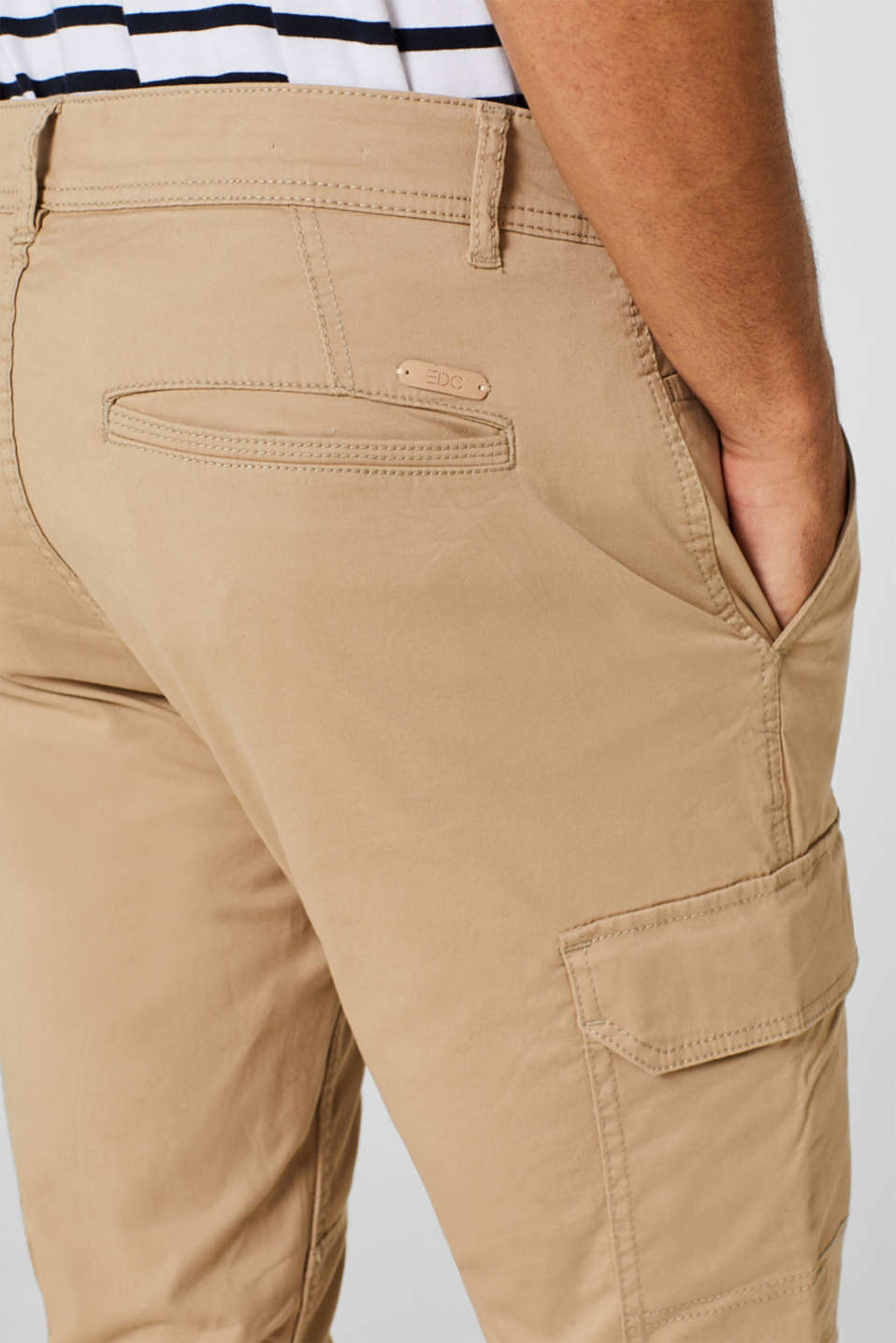 Stretch cotton cargo trousers, BEIGE, detail image number 2