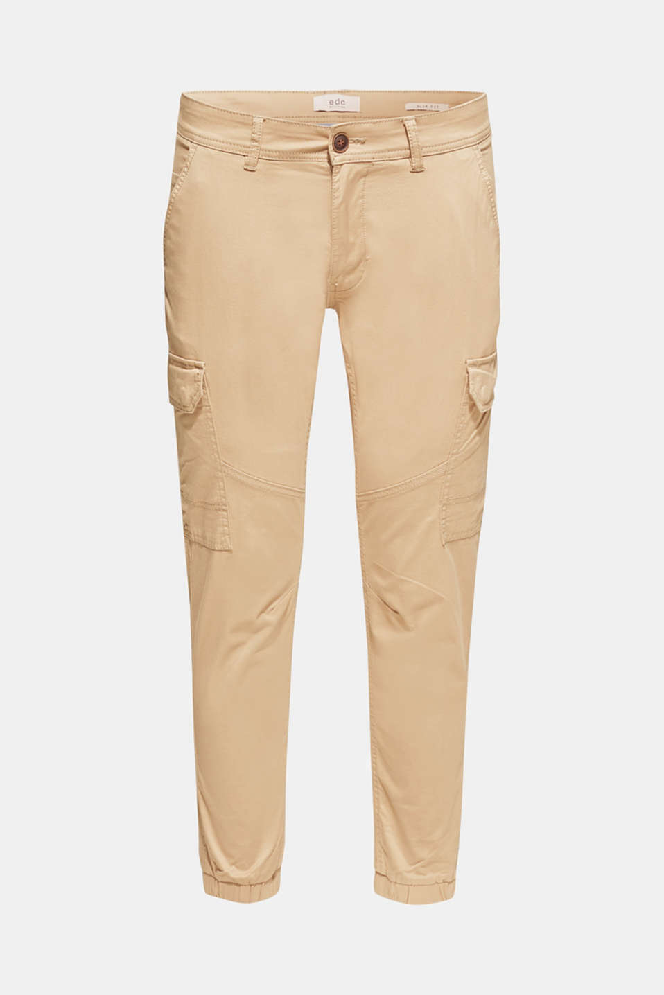 Stretch cotton cargo trousers, BEIGE, detail image number 5