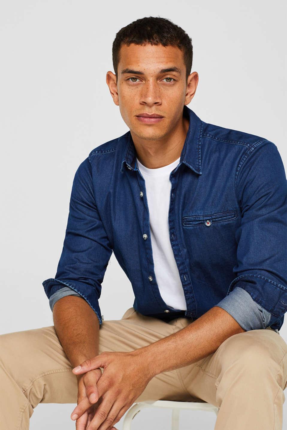 Denim shirt in 100% cotton, BLUE MEDIUM WASH, detail image number 0