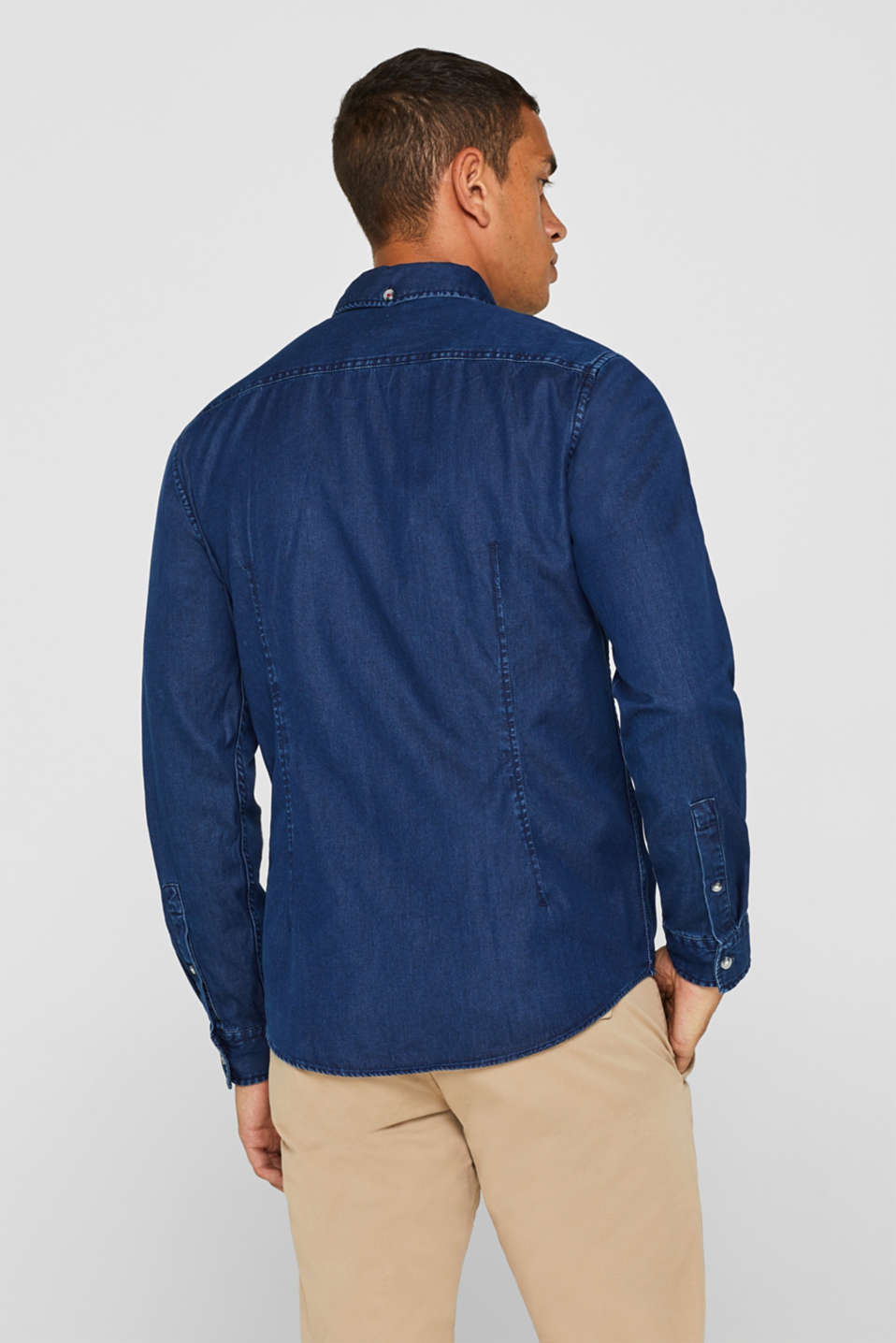 Denim shirt in 100% cotton, BLUE MEDIUM WASH, detail image number 3
