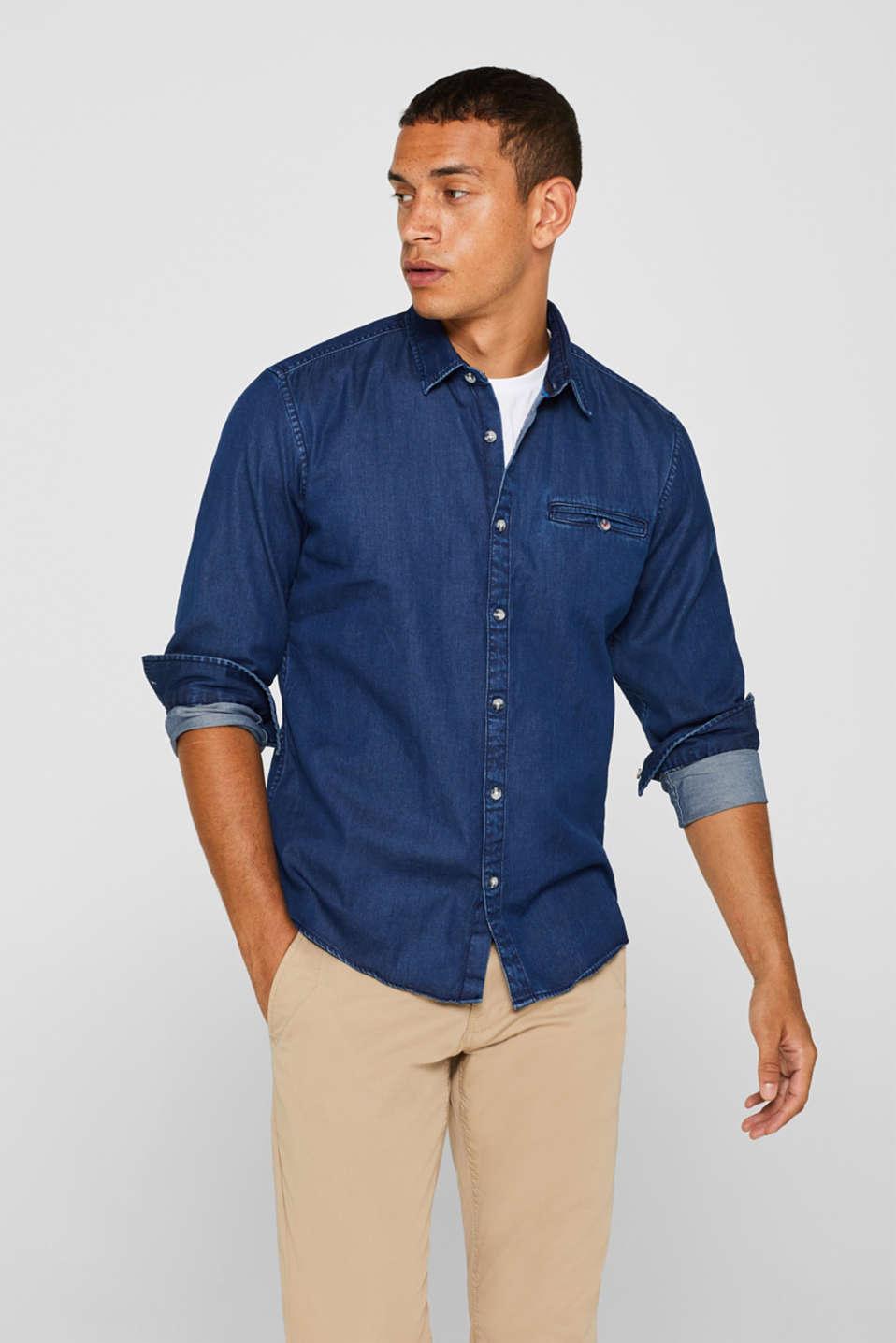 Denim shirt in 100% cotton, BLUE MEDIUM WASH, detail image number 5