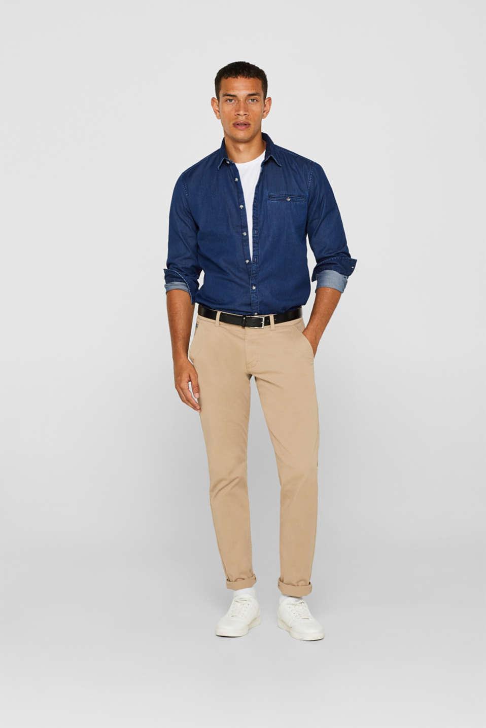 Denim shirt in 100% cotton, BLUE MEDIUM WASH, detail image number 1