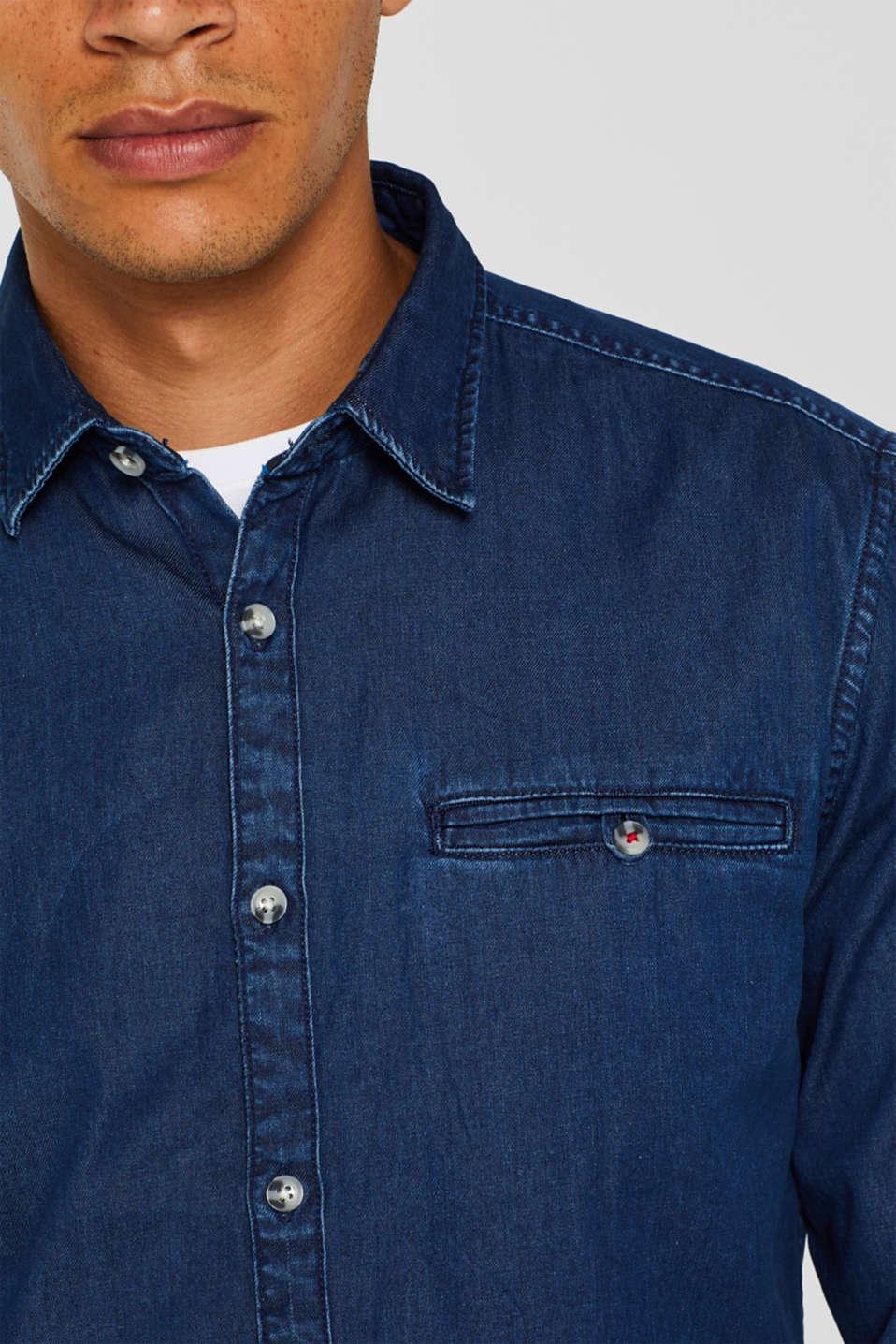 Denim shirt in 100% cotton, BLUE MEDIUM WASH, detail image number 2