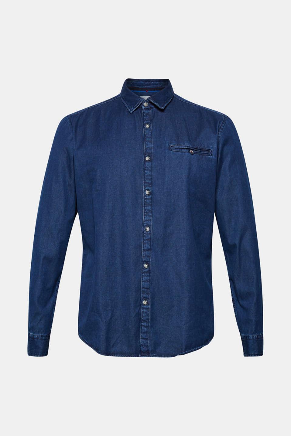 Denim shirt in 100% cotton, BLUE MEDIUM WASH, detail image number 6