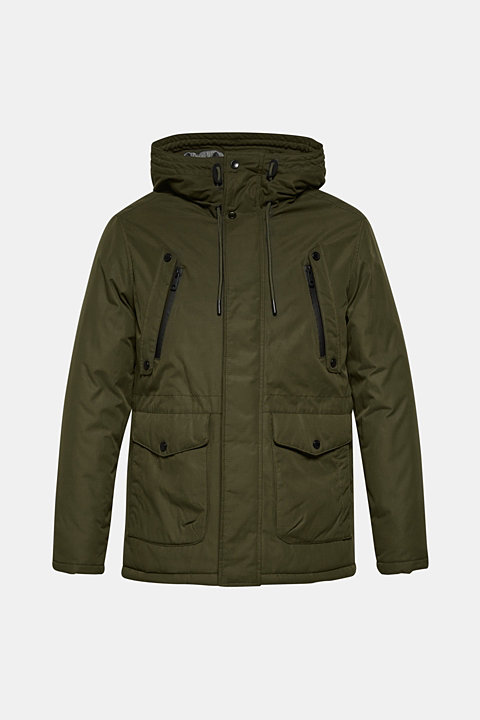 Parka with hood, made of blended cotton