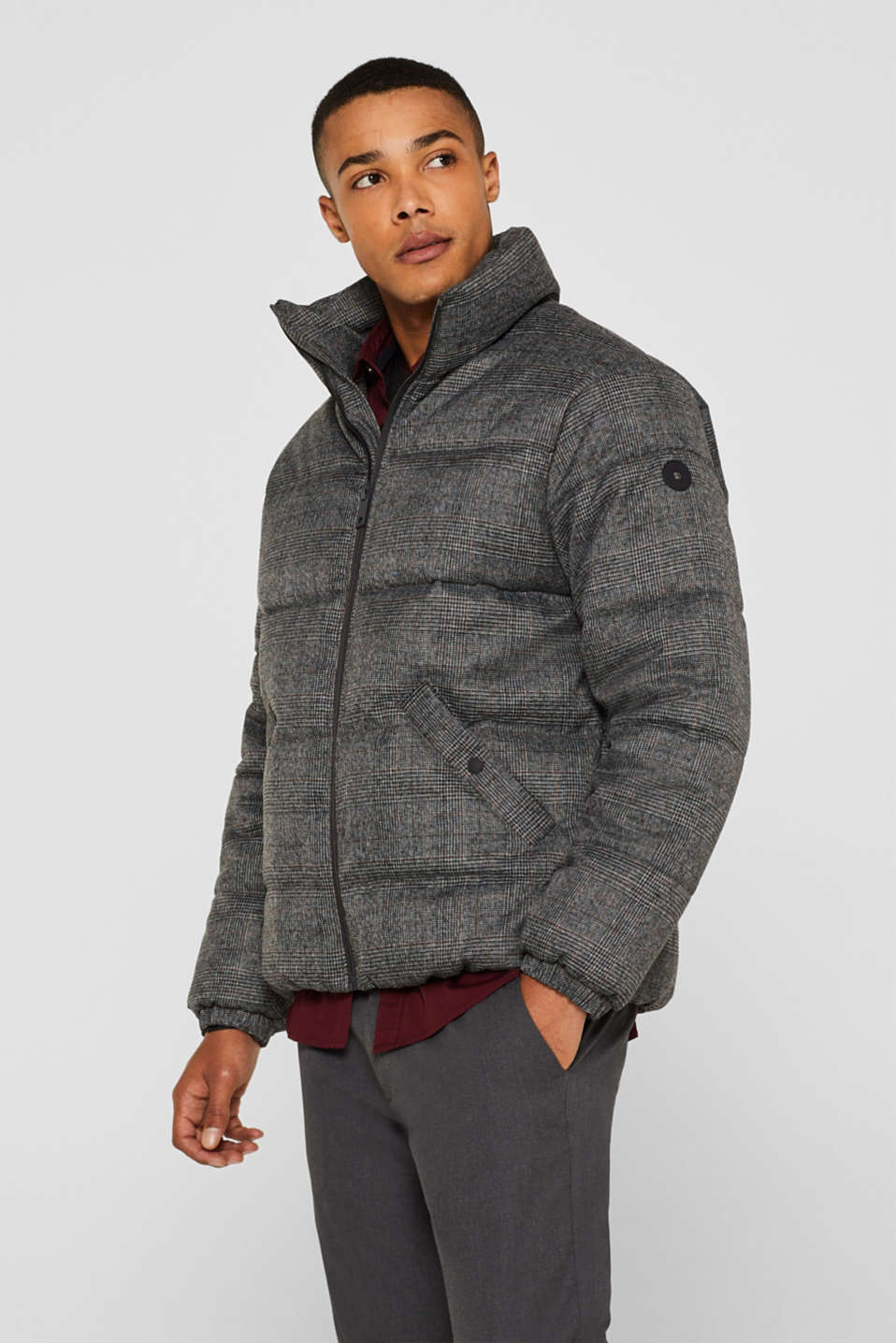 edc - Padded jacket with Prince of Wales check pattern