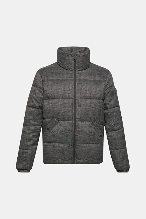Padded jacket with Prince of Wales check pattern