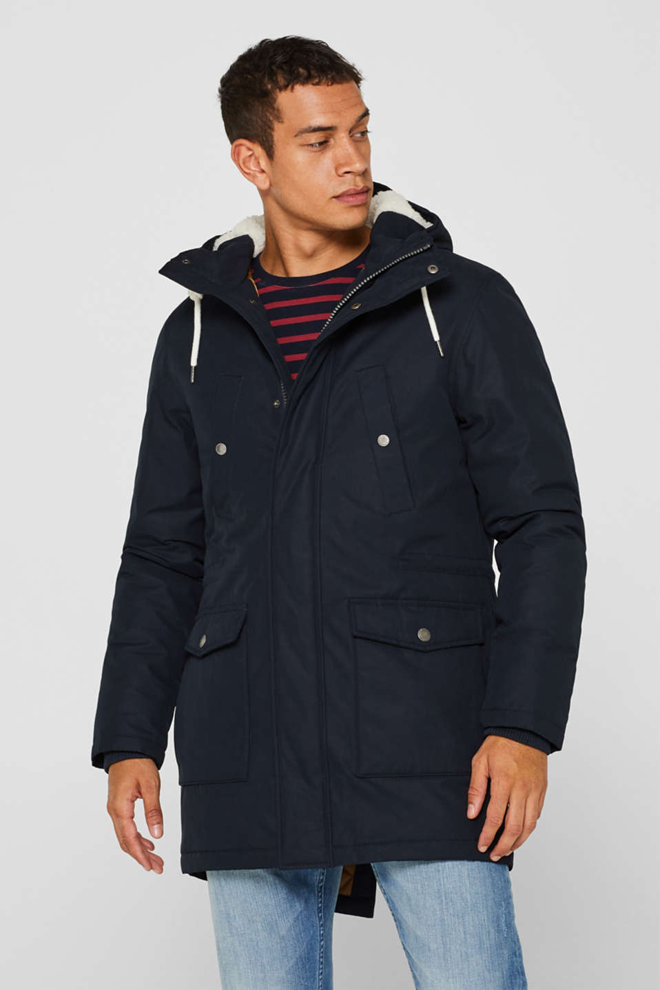 edc - Parka with hood, made of blended cotton