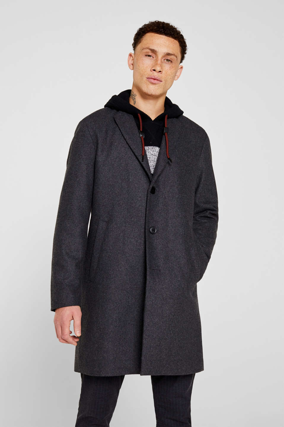 Wool blend: coat with a lapel collar, GREY, detail image number 0