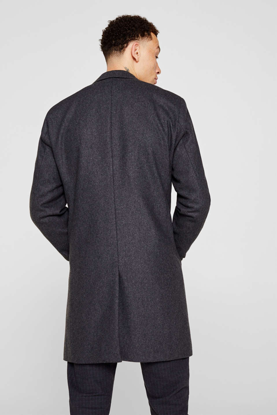 Wool blend: coat with a lapel collar, GREY, detail image number 3