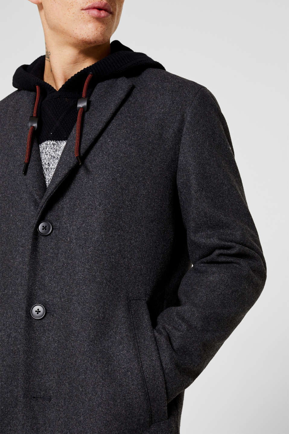 Wool blend: coat with a lapel collar, GREY, detail image number 2