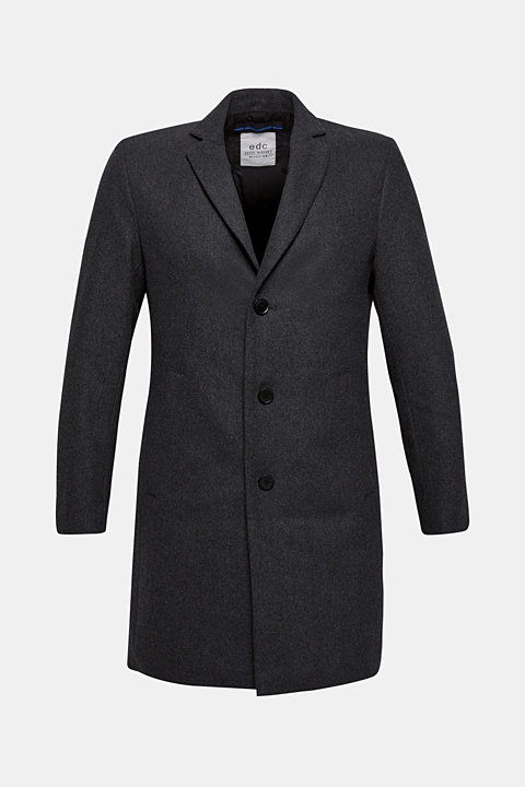 Wool blend: coat with a lapel collar