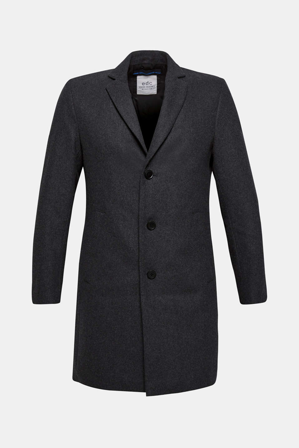 Wool blend: coat with a lapel collar, GREY, detail image number 6