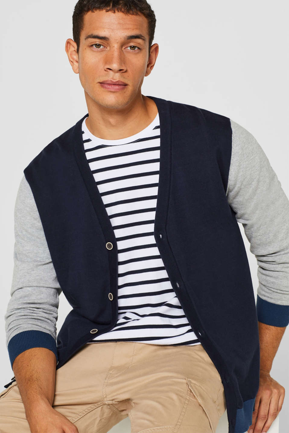 edc - Color Block-Cardigan aus 100% Baumwolle