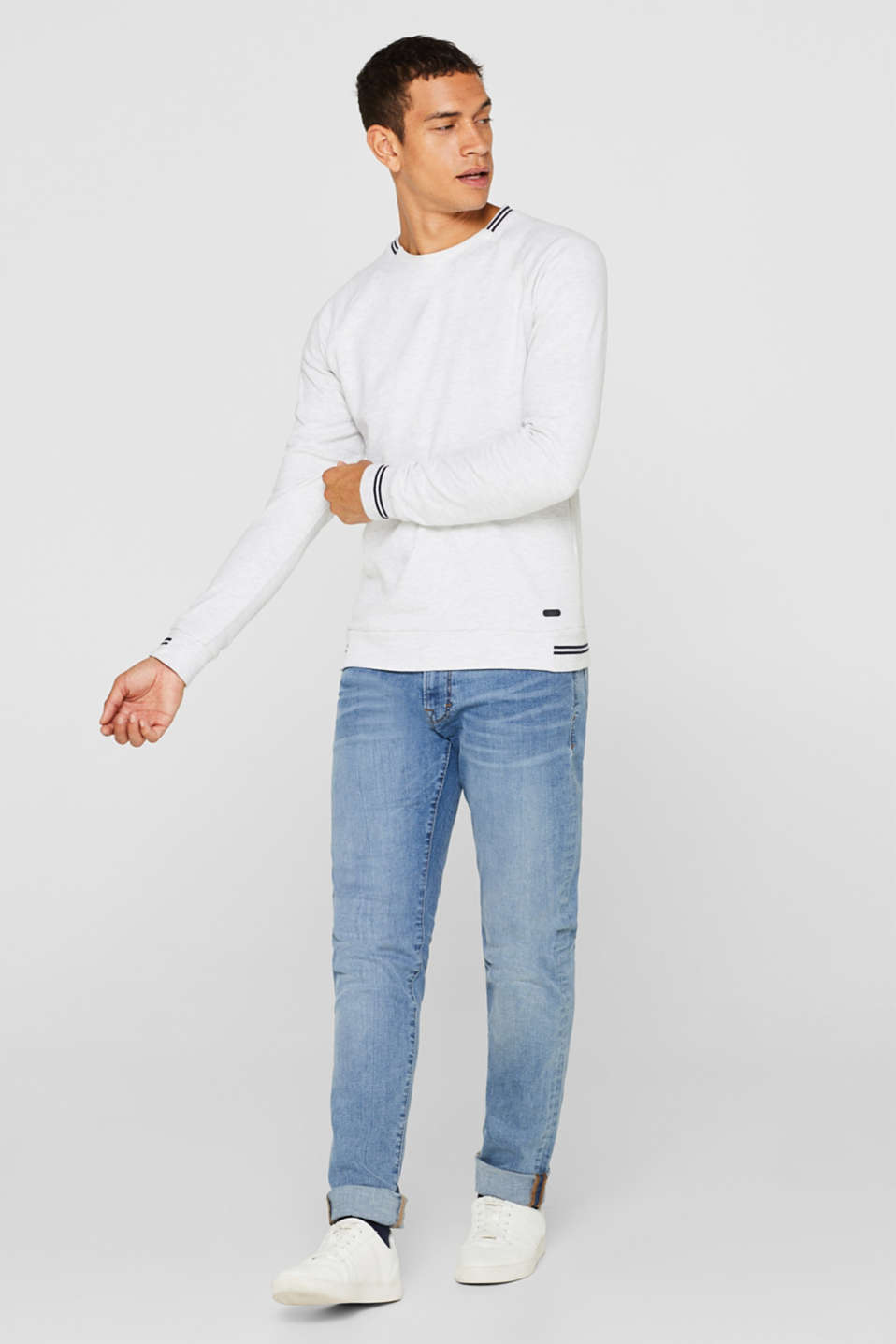 Sweatshirt in 100% cotton, OFF WHITE, detail image number 1