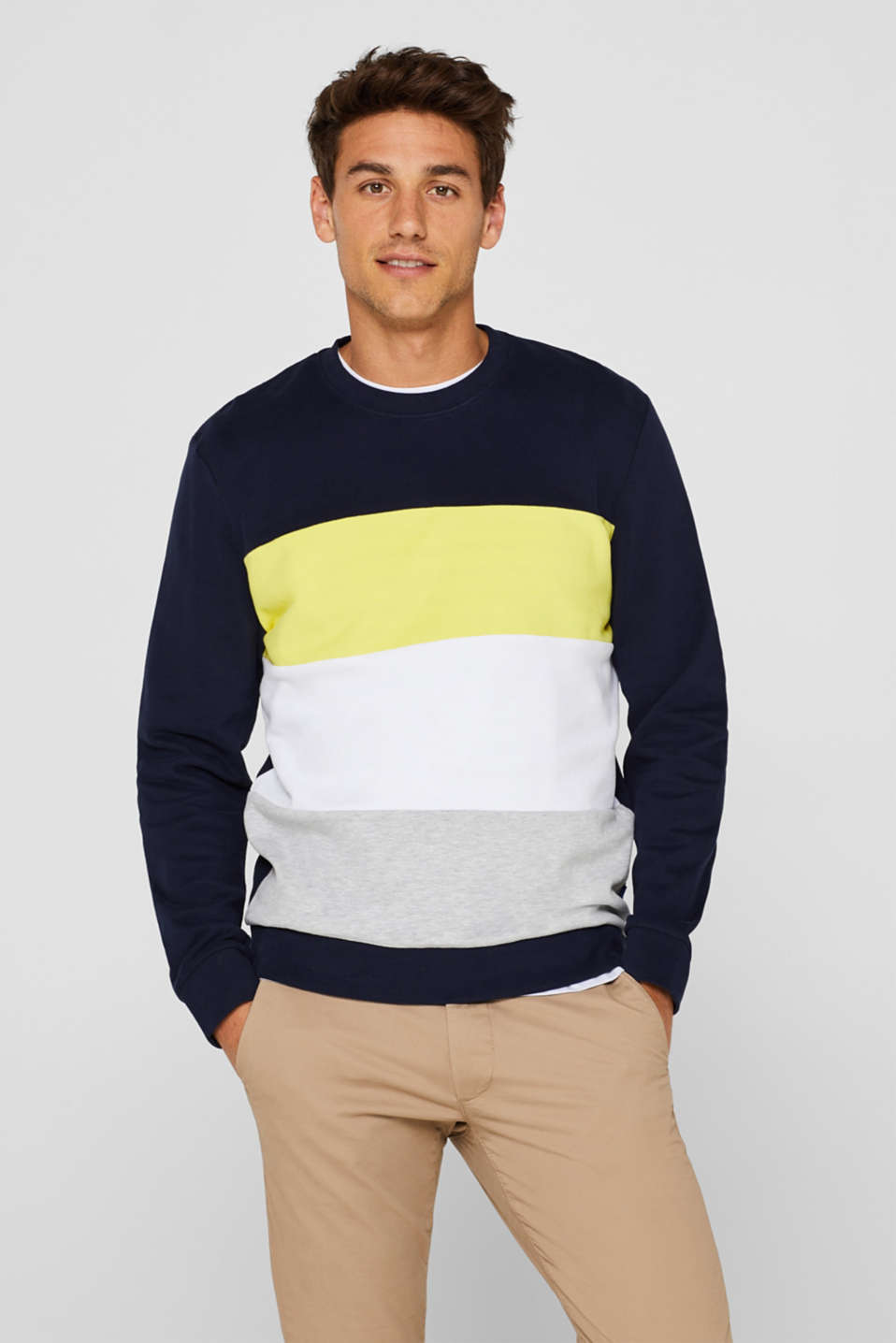 edc - Sweatshirt with colour blocks, 100% cotton