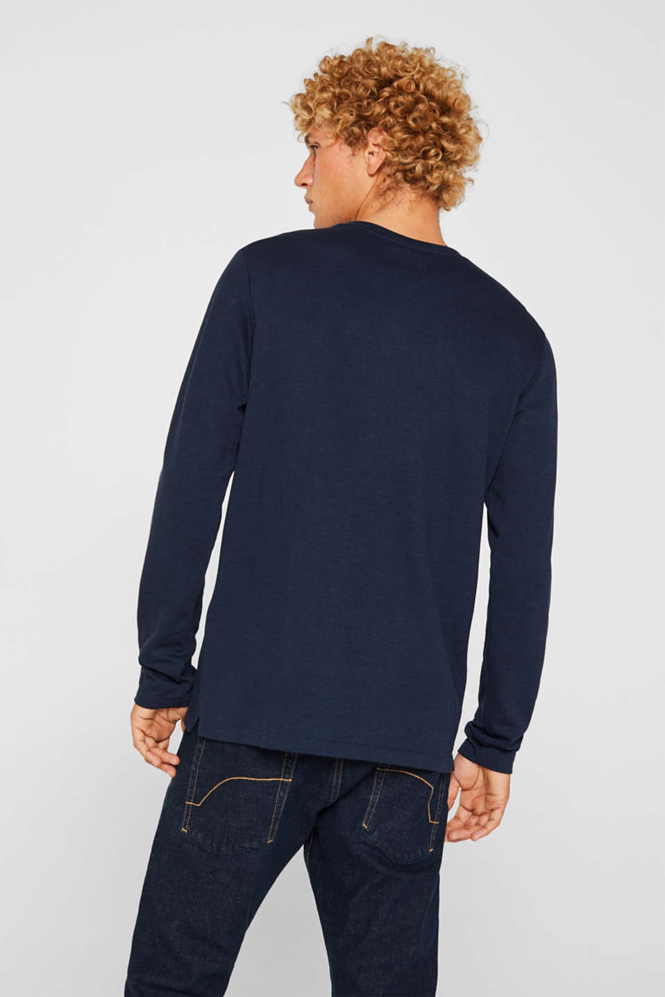 Long sleeve top made of textured jersey, NAVY, detail image number 3