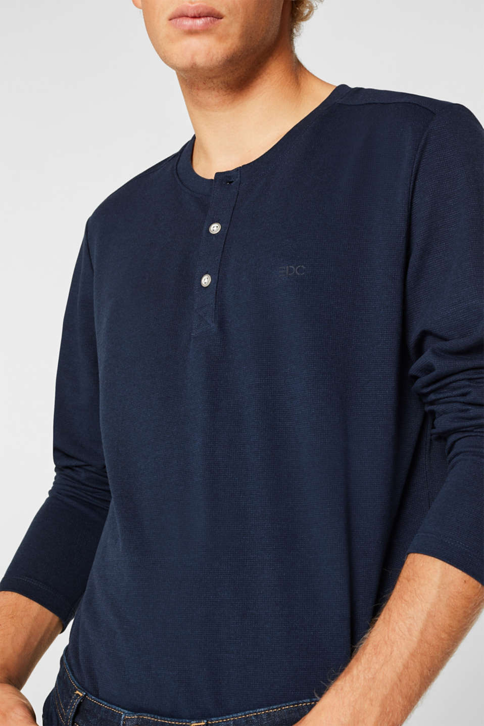 Long sleeve top made of textured jersey, NAVY, detail image number 1