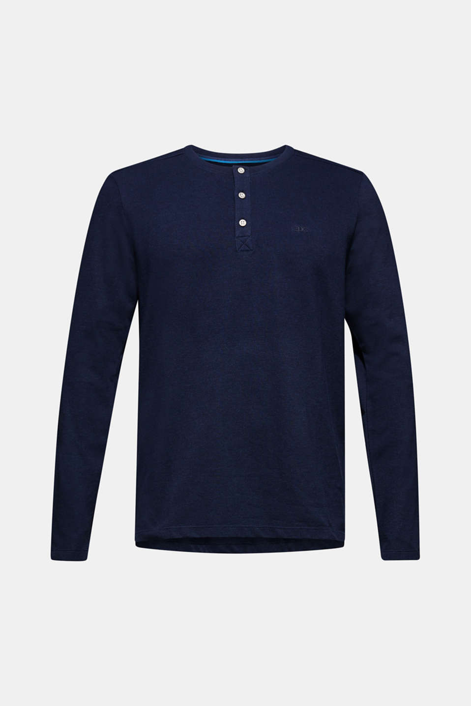 Long sleeve top made of textured jersey, NAVY, detail image number 6