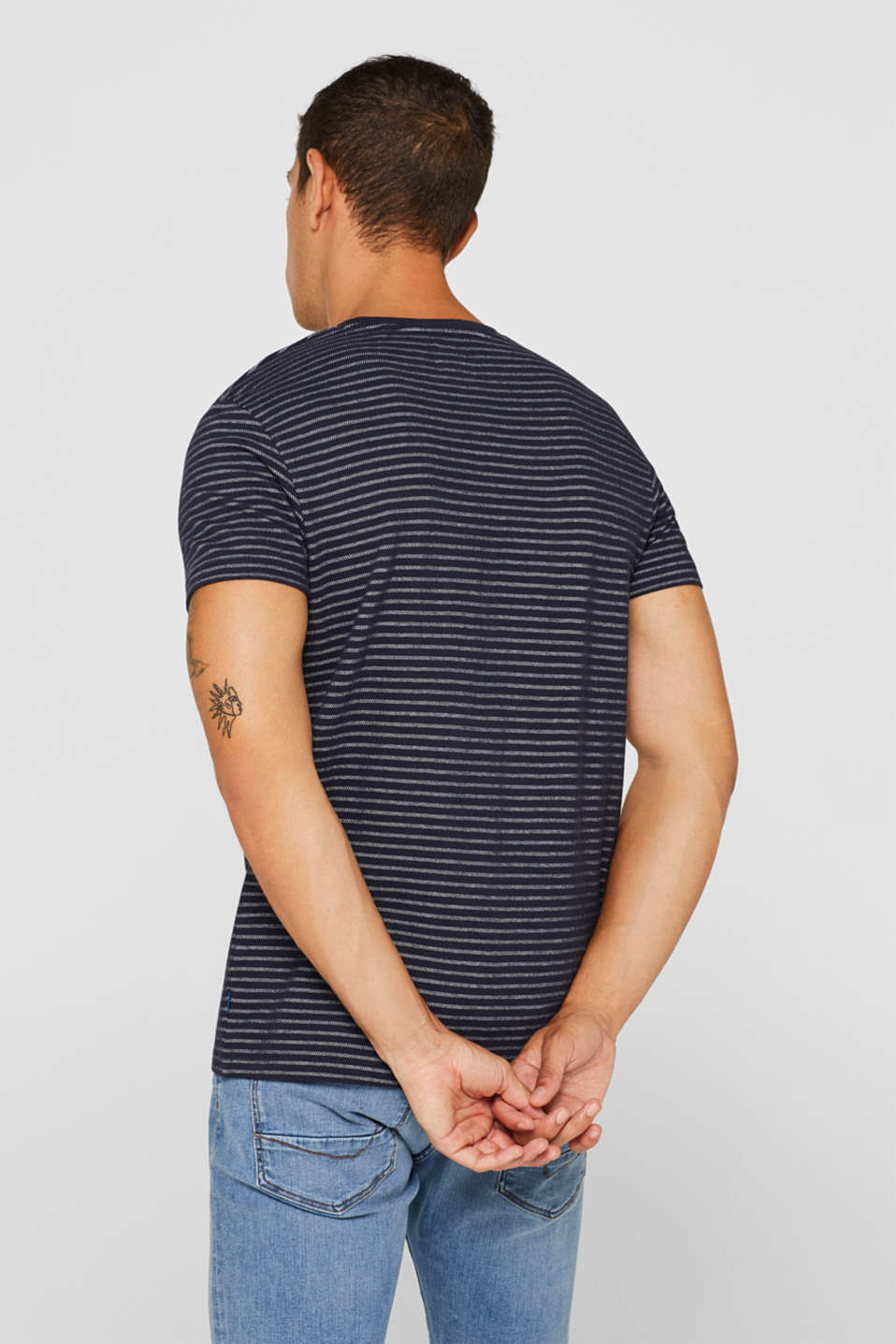 Striped piqué top made of 100% cotton, NAVY, detail image number 3