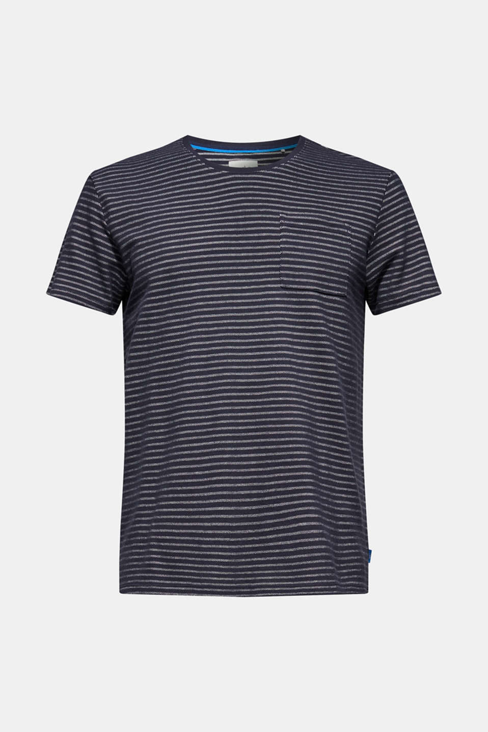Striped piqué top made of 100% cotton, NAVY, detail image number 6