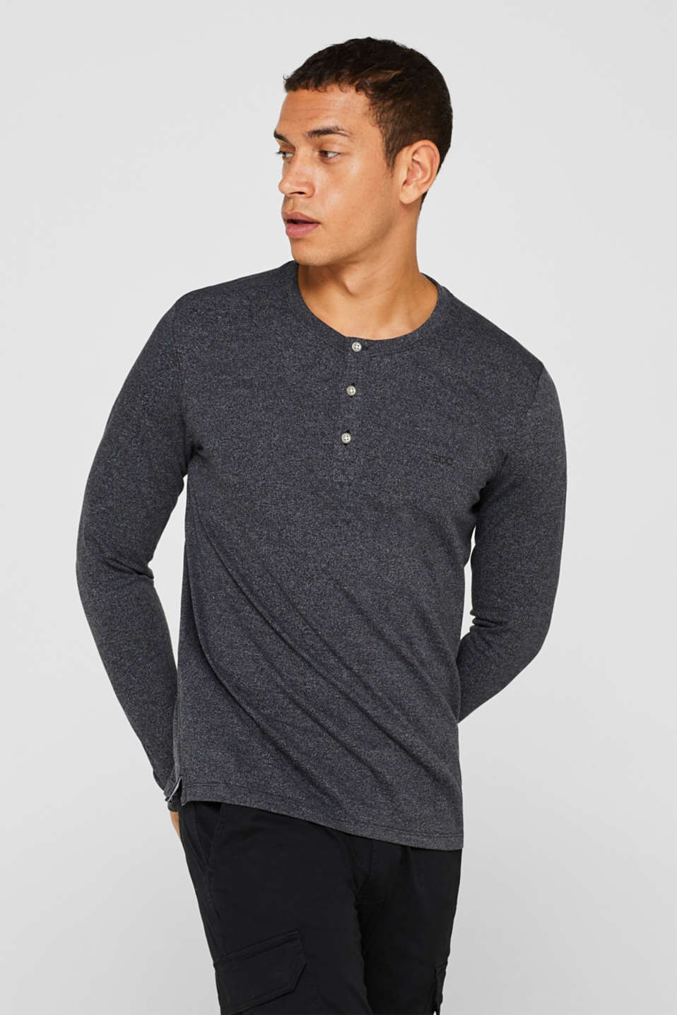 Henley-style long sleeve top, BLACK, detail image number 0