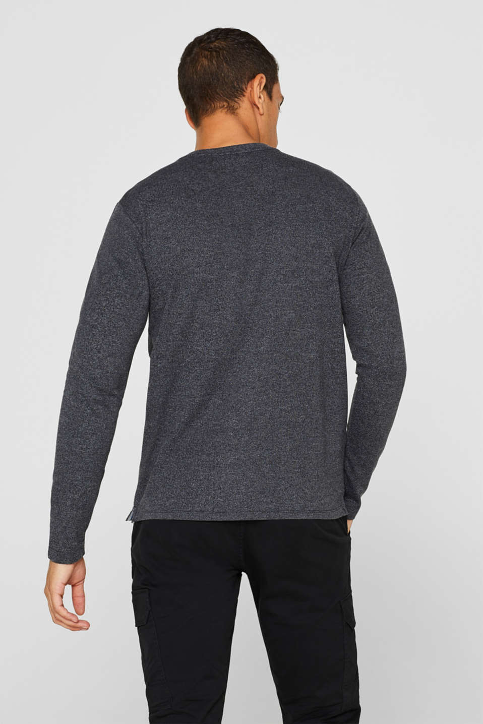 Henley-style long sleeve top, BLACK, detail image number 3