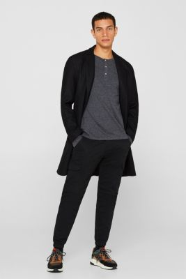 Henley-style long sleeve top, BLACK, detail